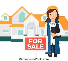 Real estate agent offering house - A woman holding the...