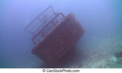 Zoom in to wreck on the sea sandy bottom Amazing, beautiful...