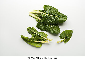 Chard - Fresh swiss chard leaves isolated on a white...
