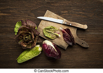 Radicchio Salad - Fresh mixed radicchio on a wooden...
