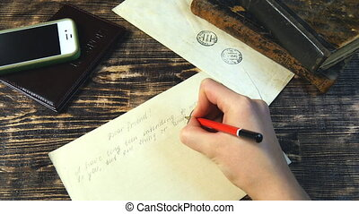 Woman hand write letter on vintage background