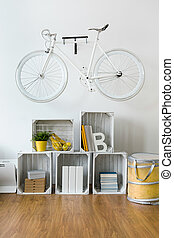 Bike as a original room decoration - Light room with white...