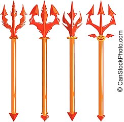 red trident set isolated on white background - vector...