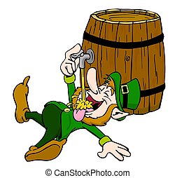 Leprechaun Drinking - Hand drawn cartoon leprechaun having...