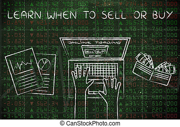 online trading user on of stock market data, with text Learn...