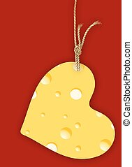 cheese heart - Hanging Heart with cheese, vector art...