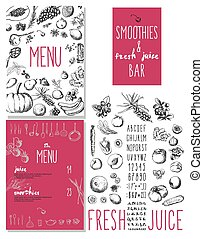 Smoothies and fresh juices bar menu - Smoothie with fruits,...