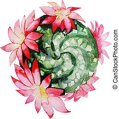 Watercolor flowering cactus - Cute watercolor flowering...