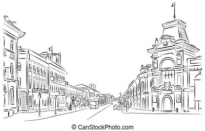 City streets and historic buildings , outline , sketch