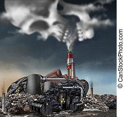 Toxic Smoke - Toxic smoke symbol as a dirty industrial...