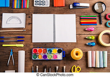 Back to school composition - Desk with stationary and copy...