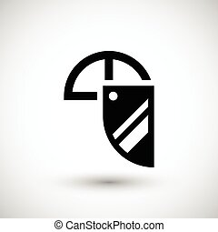 Face shield icon isolated on grey Vector illustration