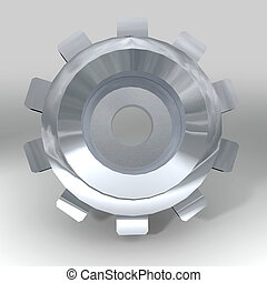 silver bevel gear - Silver metal gear or cog with teeth and...