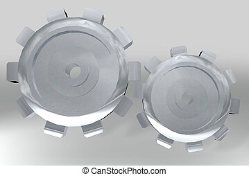subtle silver gears - Two silver metal gears with shiny...