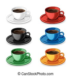 Set of colorful coffee cups isolat