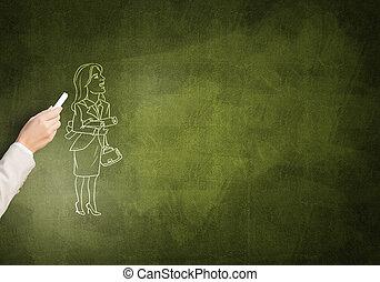 mujer de negocios, caricatura