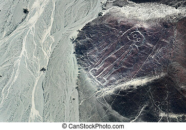 Geoglyphs and lines in the Nazca desert. UNESCO World...