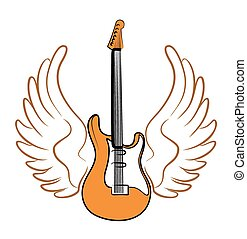 Electric guitar with wings.