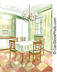 Classic kitchen interior in flat style in watercolor