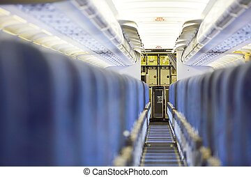 Kitchen of the airplane - Containers with food in kitchen of...