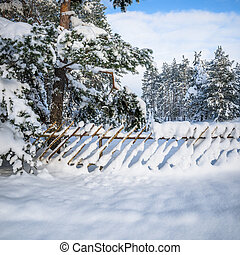 Snow-covered fence in the countryside Viitna, Estonia -...