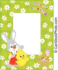 Easter border with Bunny and Chick - Vertical vector frame...
