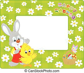 Easter border with Bunny and Chick - Horizontal vector frame...