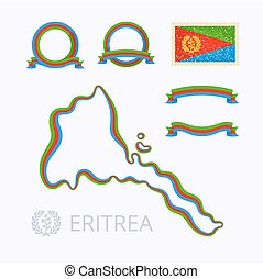 Colors of Eritrea - Outline map of Eritrea Border is marked...