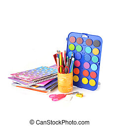 stationery facilities - box with new watercolor paints,...