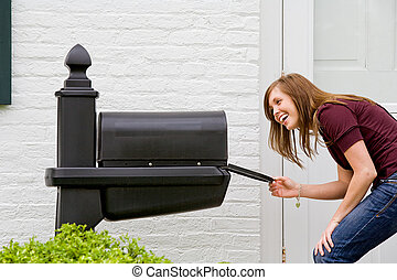 Girl Checking for Mail - Young Woman Checking for Mail