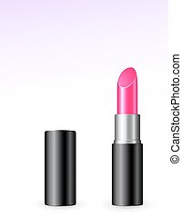 isolated pink lipstick on white background