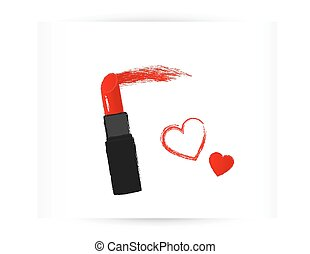 red lipstick with trace and heart - red isolated lipstick...