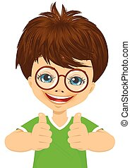 little boy with glasses showing two thumbs up isolated over...