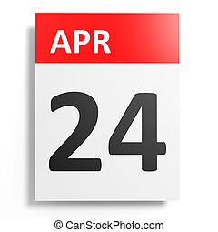 Calendar on white background. 24 April. 3D illustration.