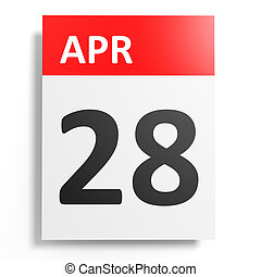 Calendar on white background. 28 April. 3D illustration.