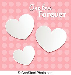 White paper hearts Valentines day card on pink dotted background