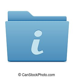 information icon on blue folder, vector illustration