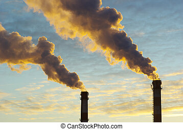 power plant  - Power plant with smoke under sky