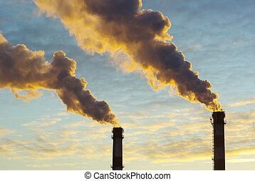 power plant  - Power plant with smoke under sky