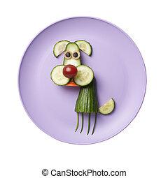 perro, hecho, de, vegetales, en, rosa, placa,