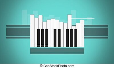 Flat animation piano keyboard like abstract sound level on...