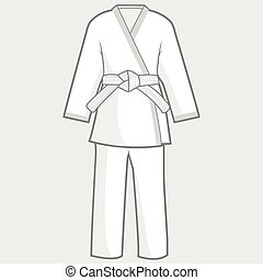 Martial arts kimono suit - Vector illustration of martial...