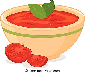 Homemade tomato soup - Vector illustration of a bowl filled...
