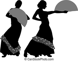 Two silhouettes of female flamenco dancer on the white...