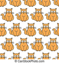 ginger cat seamless pattern