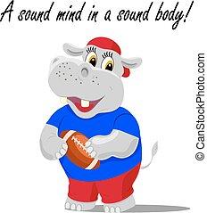 sonido, lindo, rugby, hipopótamo, mente, Ilustración,...