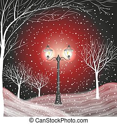 Winter background with vintage lantern in a snow covered...