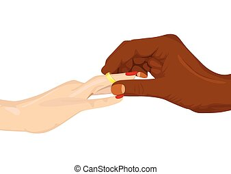 african american inserting an engagement ring into female...