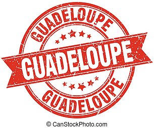 Guadeloupe red round grunge vintage ribbon stamp
