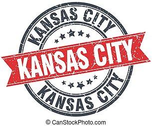 Kansas City red round grunge vintage ribbon stamp